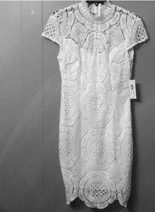 Bisou Bisou White Lace Dress w/Cap Sleeves